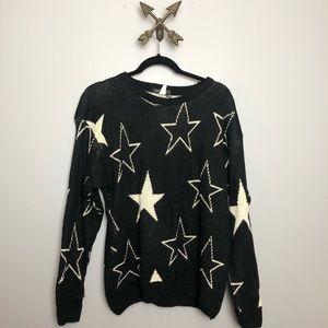 Star print black women's sweater Sz M/L